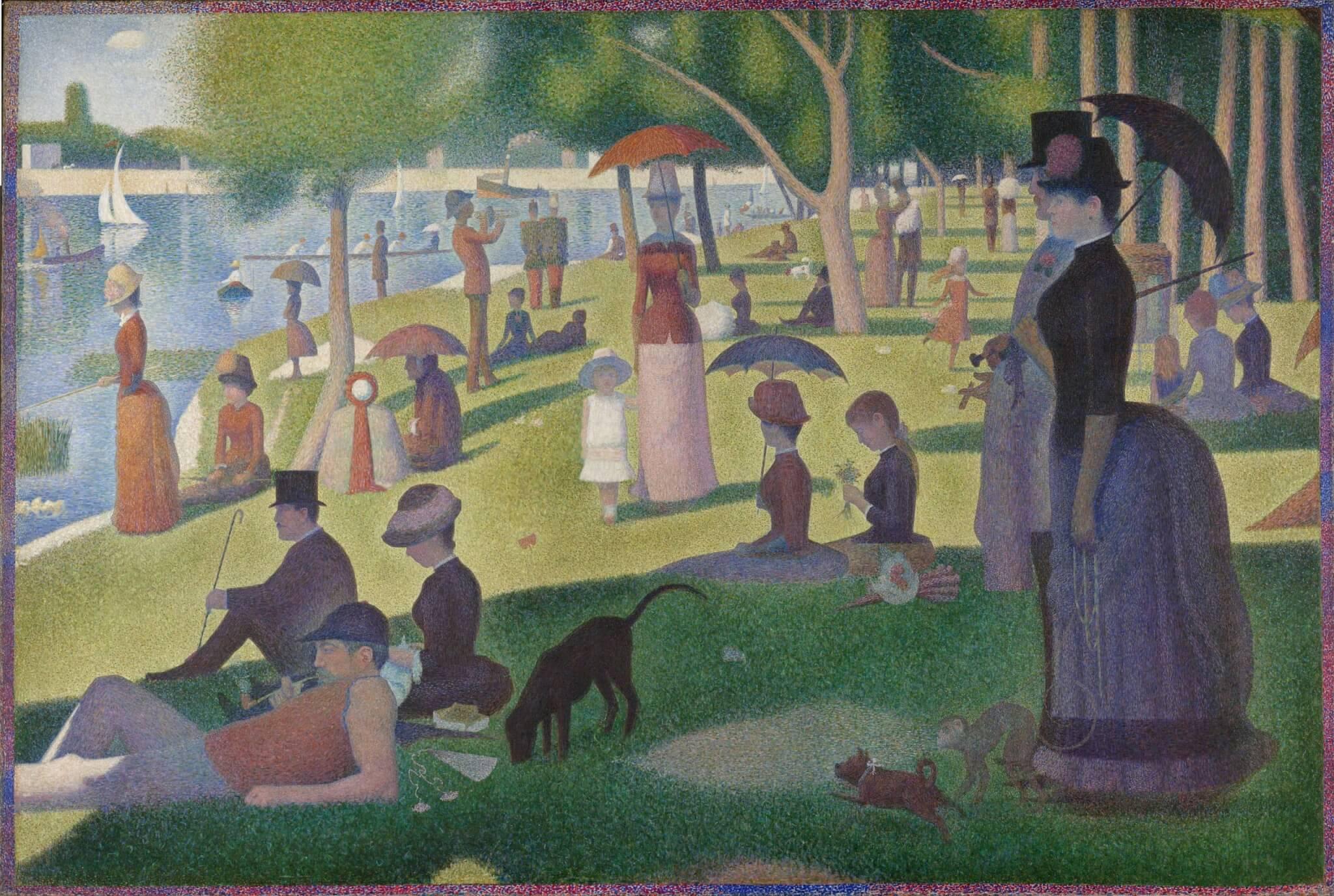 Tarde de domingo en la isla de la Grande Jatte, 1884 - Georges Seurat - Postimpresionismo