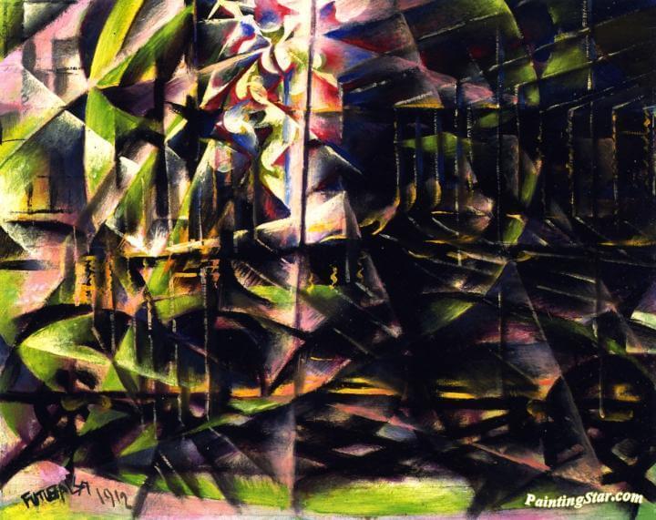 Rayonismo, bosque ver y azul - Natalia Goncharova - Rayonismo